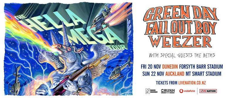 Green Day, Fall Out Boy and Weezer bring 'The Hella Mega' tour to New Zealand this November
