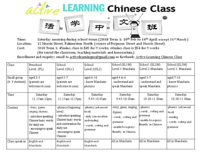 Active Learning Chinese Class School Level 1 - Palmerston North
