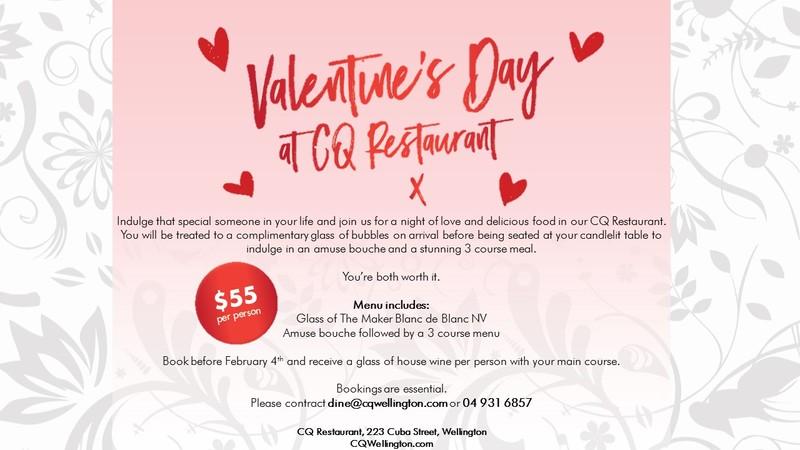 Valentines Day at CQ Wellington - Wellington - Eventfinda