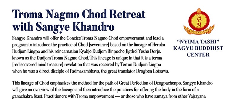 Troma Nagmo Chod Retreat with Sangye Khandro - Session 4