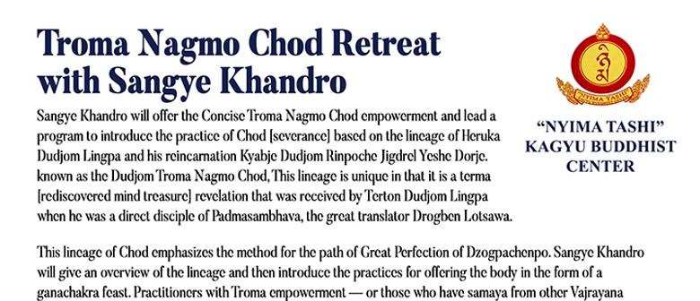 Troma Nagmo Chod Retreat With Sangye Khandro - Session 6