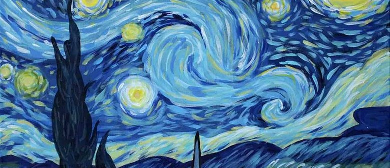 wine and paint party starry night painting auckland eventfinda