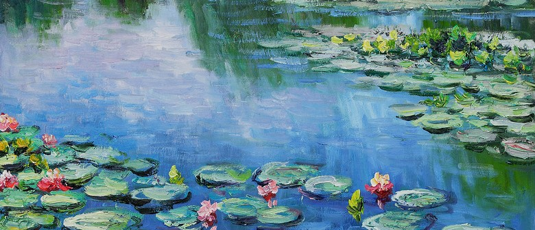 wine and paint party monet waterlilies painting auckland