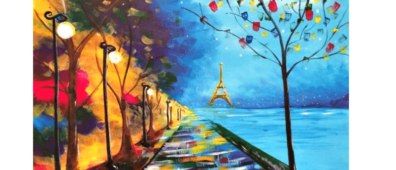 Wine And Paint Party Walk In Paris Painting