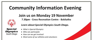Special Olympics Community Information Evening