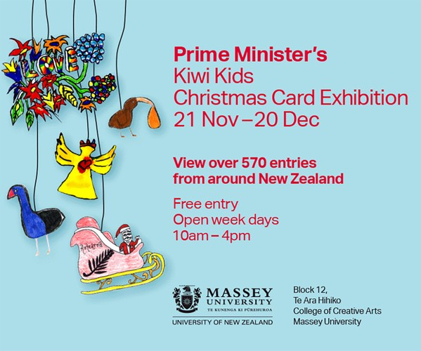 Prime Minister S Kiwi Kids Christmas Card Exhibition Wellington