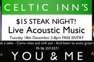 Image for event: Celtic Inn's Steak Night! With Live Music By You & Me
