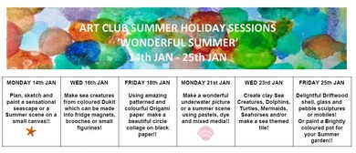 Wonderful Summer Art Club Holiday Sessions