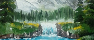 Paint and Wine Night: Bob Ross' Snowy Mountains - Paintvine