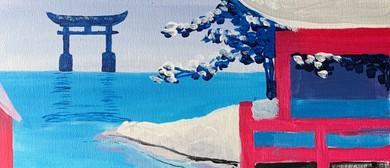 Paint and Wine Night: Snowy Japan - Paintvine
