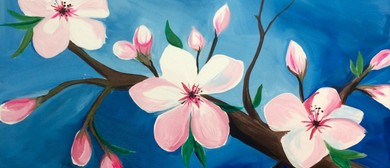 Wine and Paint Party - Cherry Blossoms Painting