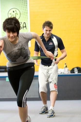 BARRYS BOOTCAMP intense treadmill and strength training class.
