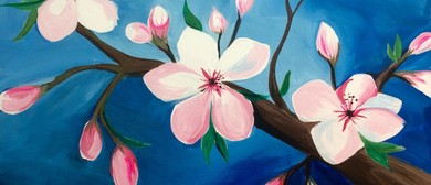 Mother's Day Wine and Paint Party Cherry Blossom Painting