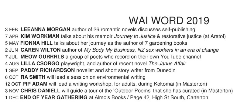 Wairarapa Word - Monthly Talks With Writers