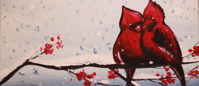 Paint & Chill Night - Cardinal Birds in Winter