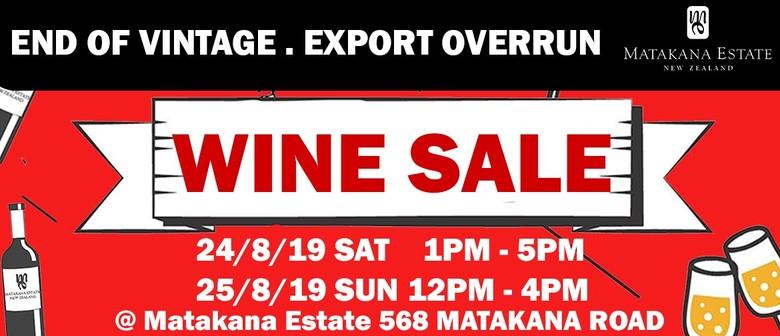 Wine Sale - End of Vintage, Export Overrun