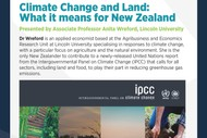 Image for event: Climate Change and Land: What It Means for New Zealand