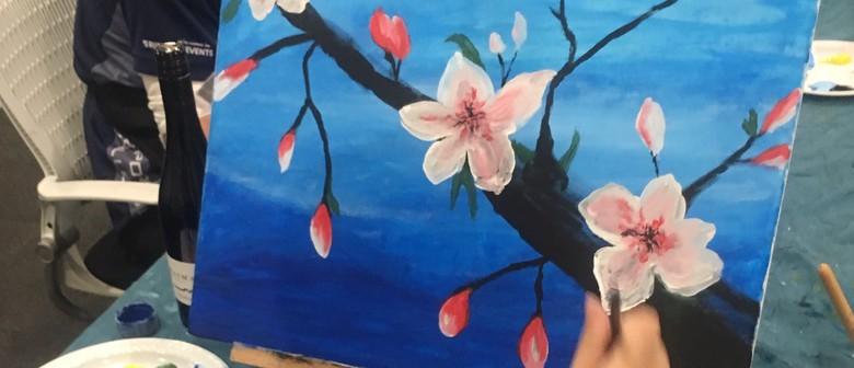 Sat Paint & Sip Sangria 'Almond Blossom' Event.