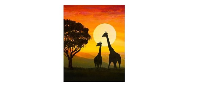 Wine and Paint Party - Giraffe Silhoutte Painting (BYO)