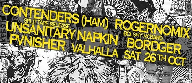 Contenders + Unsanitary Napkin Split Tape Release