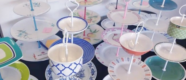 Upcycled High Tea Cake Stand With Kaitiaki Sisters