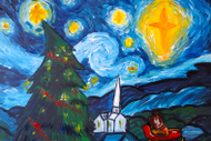 Paint and Wine Night – A Starry Christmas Night – Paintvine