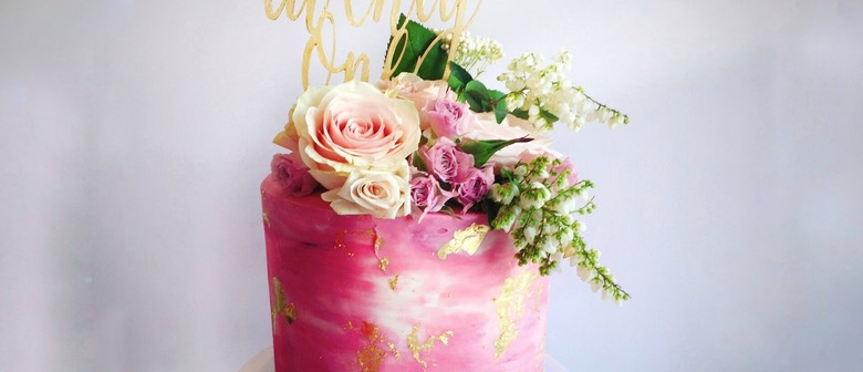Gold Leaf Watercolour and Blooms Cake Class