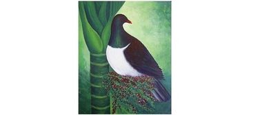Wine and Paint Party - Kereru On Nikau Painting