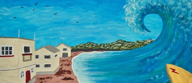Paint Your Own Surfing Lyall Bay with Heart for Art NZ