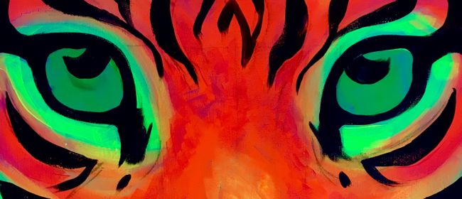 Glow In The Dark Paint Night - Fire Tiger - Paintvine