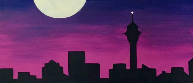 Paint & Wine Night - Moonrise Over Auckland - Paintvine