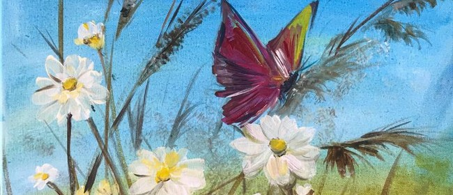 Painting in the Park - Daisies & Butterfly