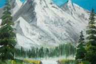 Paint & Wine Night - Bob Ross' Snowy Mountains - Paintvine