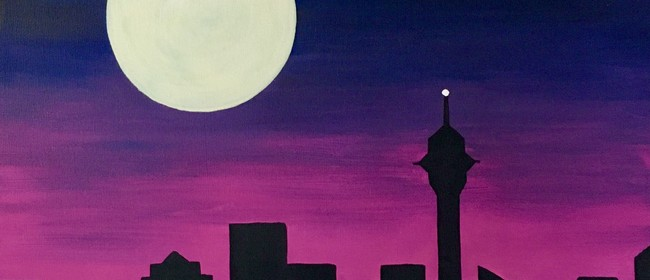 Paint and Wine Night - Moonrise over Auckland - Paintvine