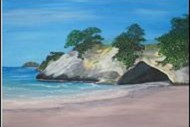 Wine and Paint Party - Cathedral Cove Painting