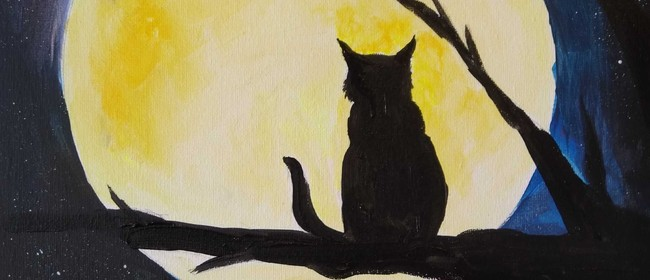 Paint and Wine Night - Cat in the Moon - Paintvine