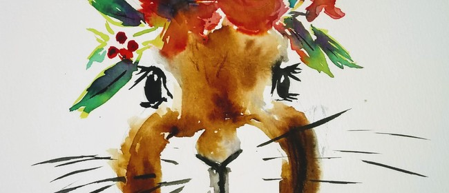 Watercolour & Wine Night - Floral Bunny - Paintvine