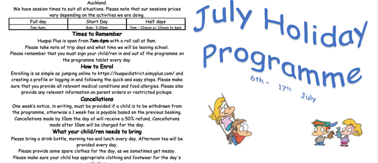 Huapai Plus July Holiday Programme