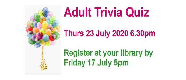 Tararua District Library Adult Trivia Quiz 2020