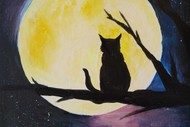 Paint and Wine Night - Cat in the Moon
