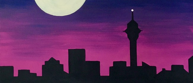 Paint and Wine Night - Moonrise over Auckland
