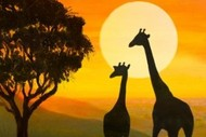 Wine and Paint Party– Giraffe Silhouette Painting