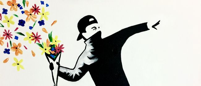 Paint and Wine Night - Banksy Flower Thrower - Paintvine
