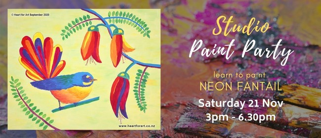 Paint Your Own Neon Fantail with Heart for Art NZ