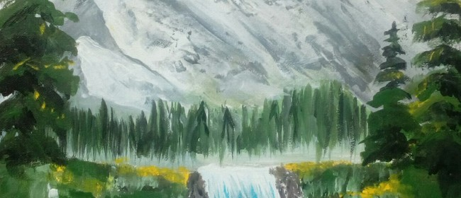 Paint and Wine Night - B Ross Snowy Mountains