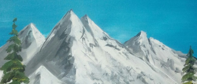 Paint and Wine Night - Bob Ross Snowy Mountains