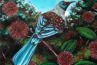 Wine and Paint Party - Tui nestled in a Pohutakawa Branch
