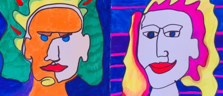 January School Holiday Art - One Line Funky Portrait