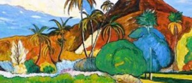 Wine and Paint Party -Tahitian Mountains - Gaughin painting