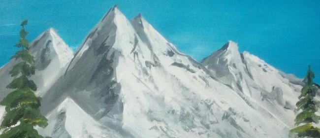 Paint and Wine Night - Bob Ross Snowy Mountains - Paintvine